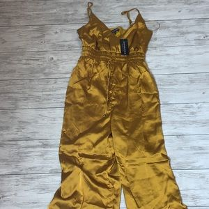 Fashion Nova Mustard Kya Jumpsuit Medium NWT